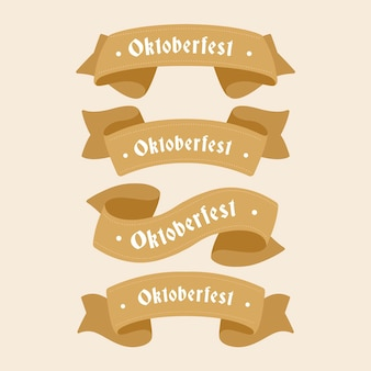 Flat design oktoberfest beer festival brown ribbons
