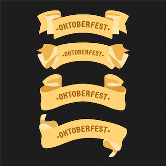 Flat design oktoberfest beer festival golden ribbons