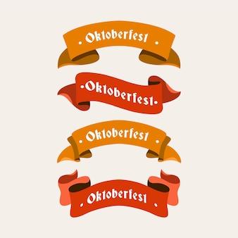 フラットなデザインのオクトーバーフェストビールフェスティバルの赤とオレンジのリボン