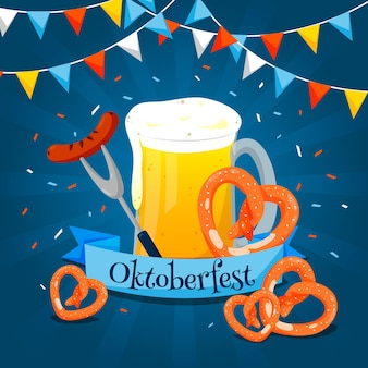 Flat design oktoberfest beer festival with pretzels