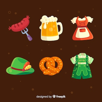 Flat design oktoberfest colorful collection