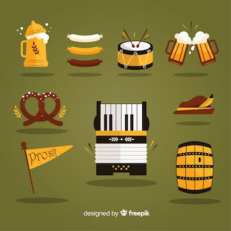 Flat design oktoberfest element collection