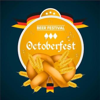Flat design oktoberfest event illustration