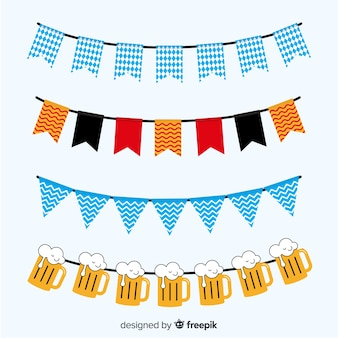 Flat design oktoberfest garland elements