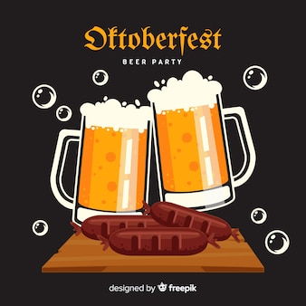 Flat design oktoberfest mugs of beer