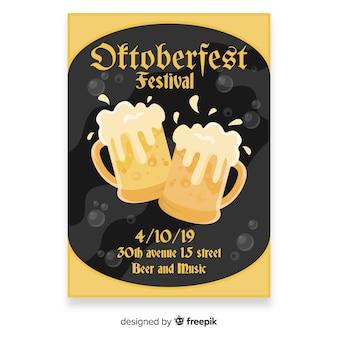 Flat design oktoberfest poster template