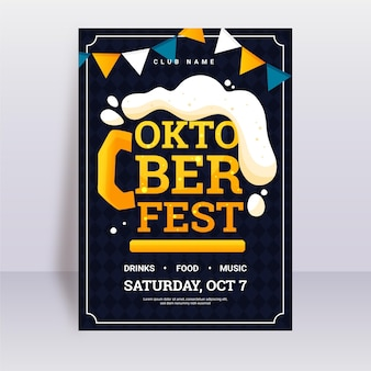 Плоский дизайн шаблона плаката октоберфест