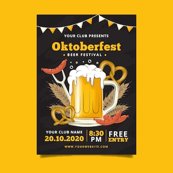 Modello di manifesto più oktoberfest design piatto
