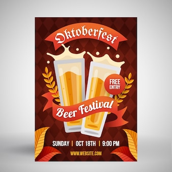 Flat design oktoberfest poster with pints of beer