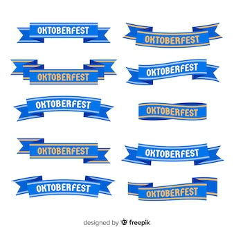 Flat design oktoberfest ribbon collection