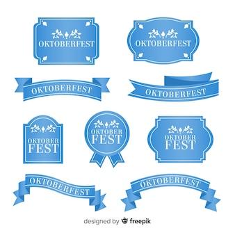 Flat design oktoberfest ribbon collection