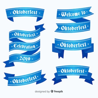 Flat design oktoberfest ribbons collection
