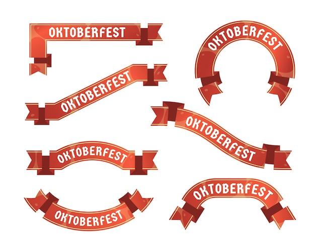 Flat design oktoberfest ribbons collection