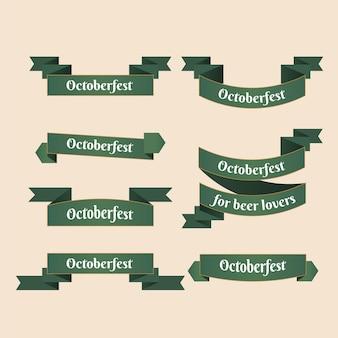 フラットデザインのオクトーバーフェストリボンパック