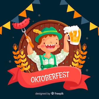 Flat design oktoberfest tirol with beer