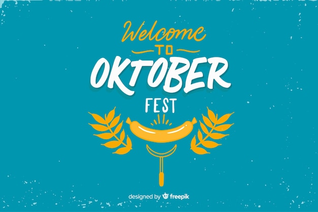 Flat design oktoberfest with leaves
