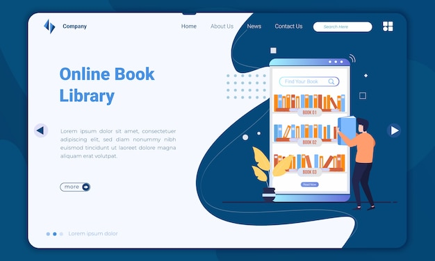 Flat design online book library landing page template