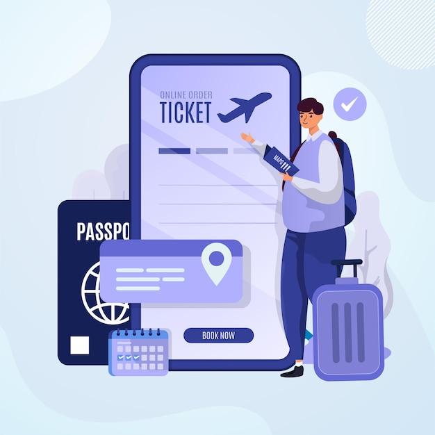 Плоский дизайн иллюстрации билета онлайн-бронирования для концепции дня путешествия