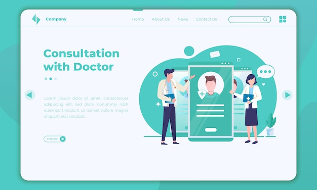 Flat design of online consultation with doctors on the landing page template