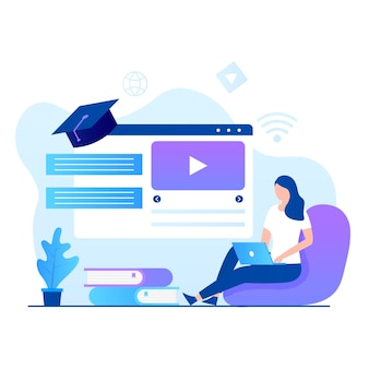 Flat design of online courses illustration