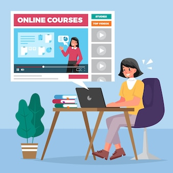 Flat design online courses illustration