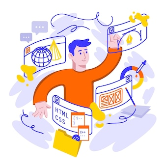 Flat design online courses illustration