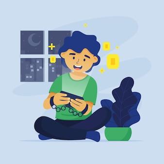 Concetto dell'illustrazione di dipendenza dei giochi online di progettazione piana