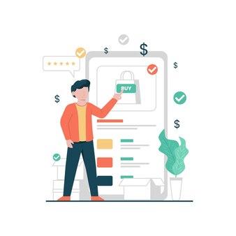 Плоский дизайн онлайн-продуктовая концепция иллюстрации