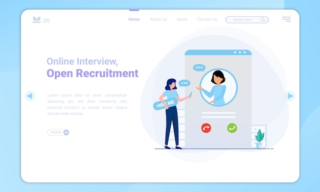 Flat design of online interview on landing page template
