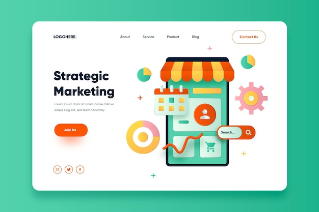 Flat design online marketing landing page