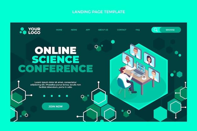 Pagina di destinazione della conferenza scientifica online di design piatto
