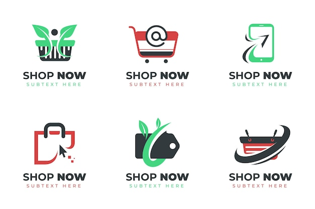 フラットデザインのオンラインショップのロゴコレクション
