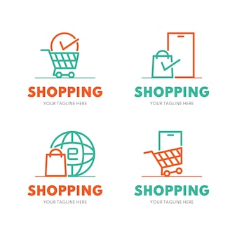 Flat design online shop logo collection