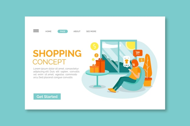 イラストとフラットなデザインのオンラインショッピングのランディングページテンプレート