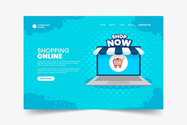 Flat design online shopping landing page template
