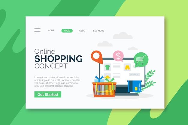 イラスト付きフラットデザインオンラインショッピングのランディングページ
