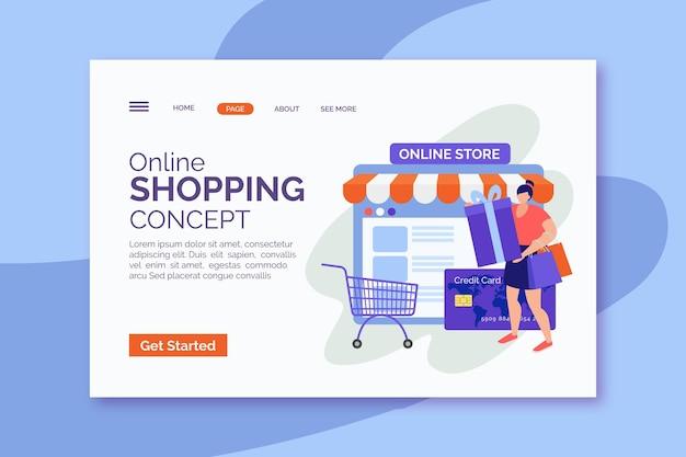 フラットなデザインのオンラインショッピングのランディングページ