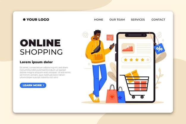Flat design online shopping landing page