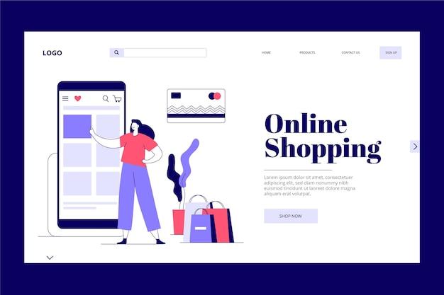 Flat design online shopping landing page Free Vector