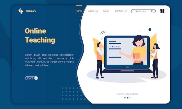 Flat design online teaching landing page template