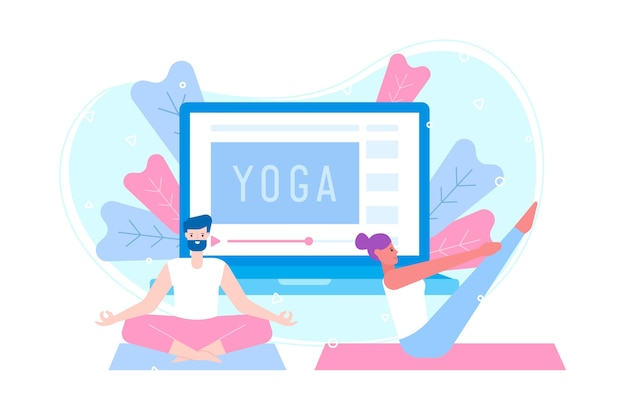 Flat design online yoga class