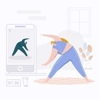 Lezione di yoga online design piatto