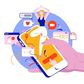 Flat design online yoga concept