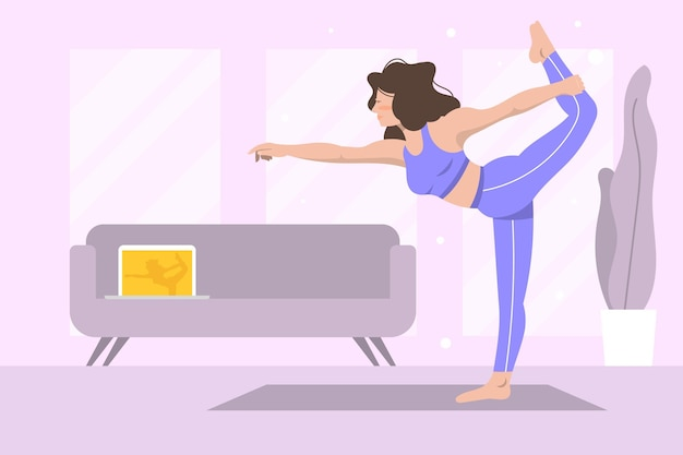 Flat design online yoga lesson