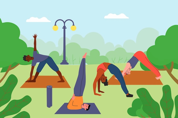 Illustrazione di classe di yoga all'aperto design piatto