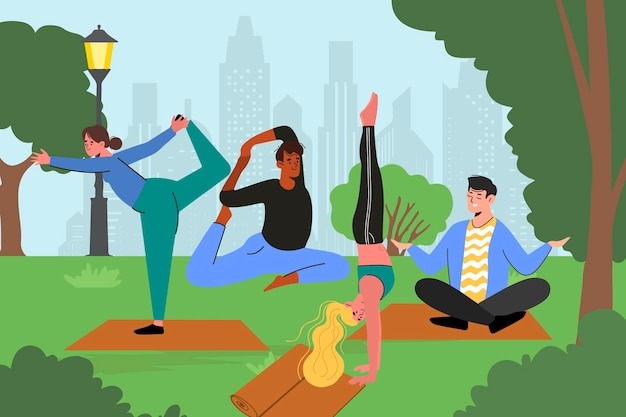 Flat design open air yoga class