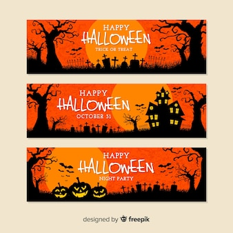 Flat design of orange halloween banners