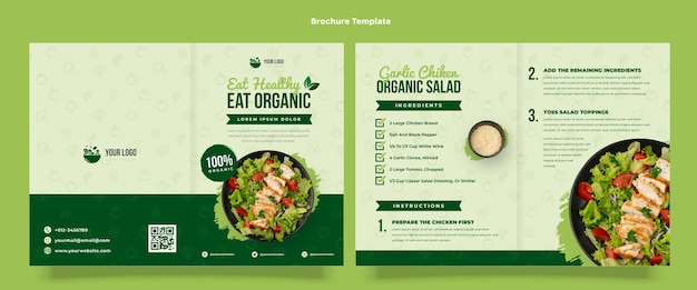 Modello di brochure per alimenti biologici design piatto