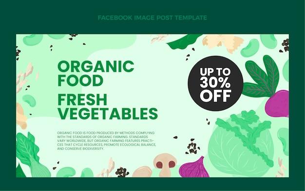Плоский дизайн органических продуктов питания в facebook