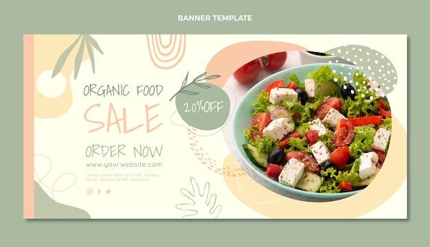 평면 디자인 유기농 식품 판매 배너